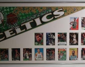 Boston Celtics Basketball Pennant & Cards Retrospective.(#2)..Custom Framed !!