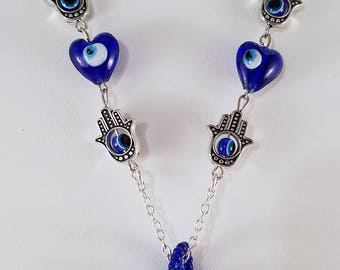 Hand of Peace Blue Necklace & Earring set