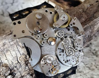 Motorcycle  Mechanism Steampunk Leather Wristband Cuff -Bracelet-Steampunk Bracelet-Steampunk cuff-steampunk gift