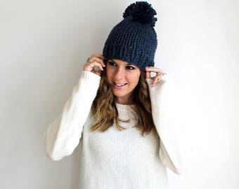 Hat Knit Chunky Pom Pom Denim- Pokomoke Hat