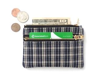 Slim Wallet Pouch Double Zipper Coin Purse Blue Plaid