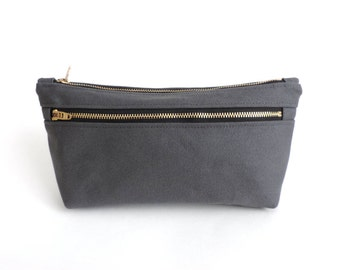 Canvas Cosmetic Bag Double Zipper Pouch Gray