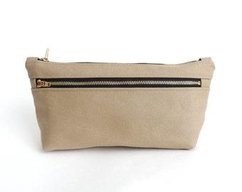 Canvas Cosmetic Bag Double Zipper Pouch Beige
