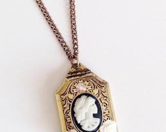 Antique Gold Victorian Locket Skeleton Woman Steampunk Black White Rose Chain Necklace