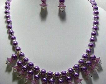 Purple Flower and Glass Pearl Jewellery Set