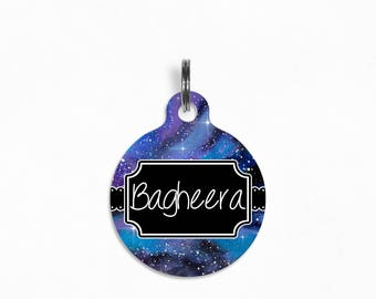 "Pet ID Tag | ""Bagheera"" - Watercolor Galaxy IV"