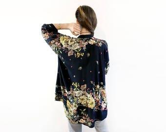 Black Floral Kimono, Unique Black Kimono, Unique Floral Cardigan, Black Floral Cover Up, Floral Kimono Jacket, Elegant Boho Jacket