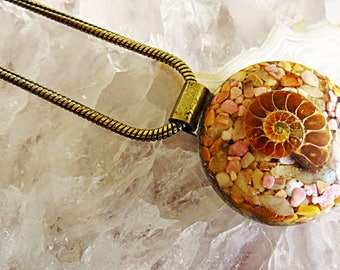 Powerful Orgone Pendant - Rhodonite/Peach Quartz/Yellow Jasper/Ammonite - FREE WORLDWIDE SHIPPING!
