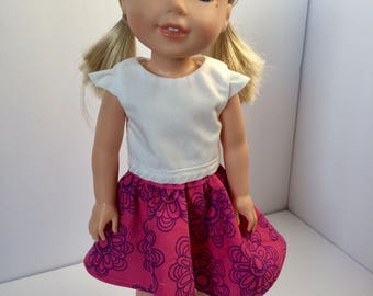 "Wellie Wisher doll skirt. 14"" doll skirt. Pink skirt with purple flowers."