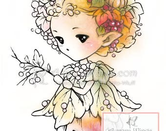 Digital Stamp - Whimsical Autumn Sprite - Instant Download - Nature Fairy Fantasy Line Art for Cards & Crafts by Mitzi Sato-Wiuff