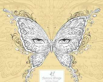 PNG Digital Stamp - Eye Butterfly Light Version - Butterfly Mask - Fantasy Line Art for Cards & Crafts by Mitzi Sato-Wiuff