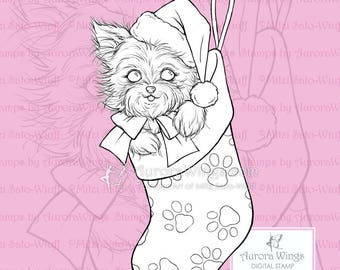 PNG Digital Stamp - Yorkie in a Stocking - Instant Download - digistamp - Holiday Animal Line Art for Cards & Crafts by Mitzi Sato-Wiuff