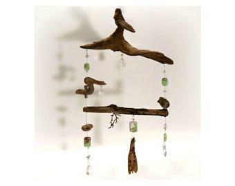 Zen Driftwood Sun Catcher, Natural Art Sculpture Assemblage, Antique French Crystals, Driftwood Bird Chandelier, Ocean Beach Bliss Decor