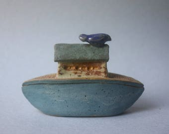 small boat-box with blue bird of happiness, OOAK stoneware clay