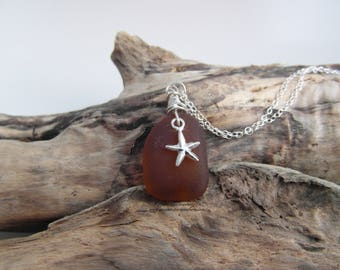 Cornish Sea Glass Necklace in Amber with Starfish Charm - Sterling Silver
