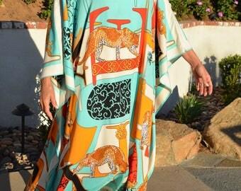 Designer Print Silk Caftan Silk Kaftan Long Beach Dress Silk Dress Silk Beach Coverup Resort Wear Plus Size Kaftan