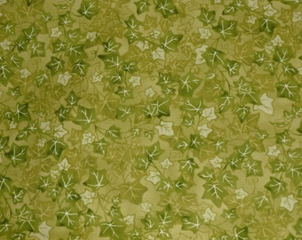 Olive Green Ivy cotton fabric, Green leaf print cotton quilt fabric, Green Ivy Leaf fabric Robert Kaufman Summer in the Garden screen print