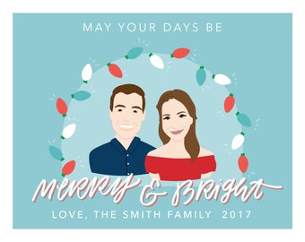 Custom Family Portrait Christmas Cards - Personalized and Illustrated Holiday Stationery - Merry and Bright