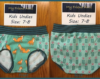 Kids undies, size 7-8, underwear, pants, panties, briefs, fox in the flowers with up-cycled stripe