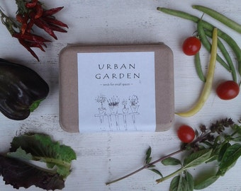 Urban garden seeds, herb and vegetable seeds garden kit,  indoor planters urban decor diy kit recycled clam box seed kit
