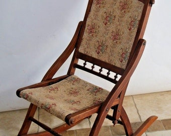 Gorgeous Antique Victorian Folding Rocking Chair Damask Fabric Petite Size Insured Nationwide shipping available please call for best rates