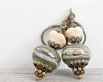 Olive Green Earrings, Lampwork Bead Earrings, Handmade Glass Dangles, Beaded Lampwork Jewelry, St Patricks Day, Gift for Her, Vintage Style