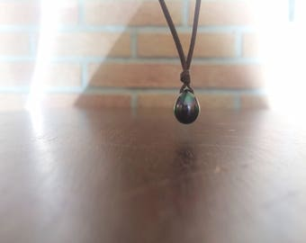 Tahitian pearl on leather necklace - woman or man choker