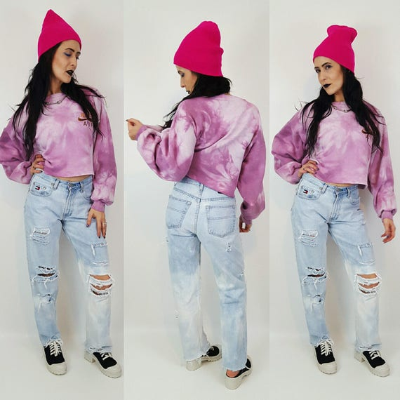 Size 8 Vintage Tommy Bleached Jeans - 90's Light Wash High Waisted Denim -  Blue Distressed Mom Jeans - Medium Light Blue Women's Jean