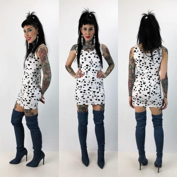 90's Black & White Polka Dot Mini Bodycon Dress S/M  - Cow Print Sleeveless Mini Dress Tight Sexy Party Dress - Everyday Cotton  Minidress