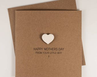 Happy Mothers Day from your Little Boy Card with Wooden magnetic Love Heart Keepsake // From Son // Magnet Card