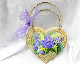 Violets Heart Tin Pocket ~ Gifts for Her ~ Handpainted Violets ~ February Birthday ~ Cottage Chic ~ Victorian Decor
