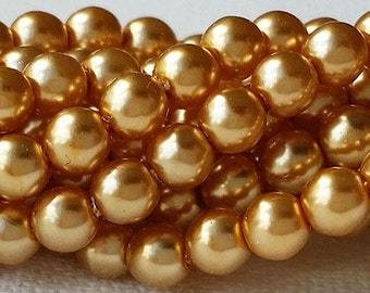 Choice 3mm, 4mm or 6mm Czech glass pearls - GOLD - strand of beads for making jewelry - smooth round druks, luster finish faux perles