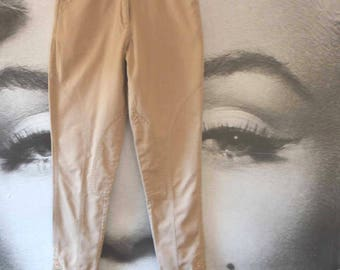 vintage 80's jodpurs trousers cotton beige riding trousers equestrian style safari trousers 80's high waist