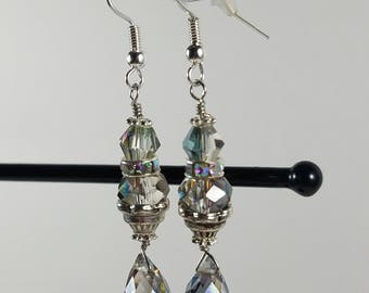 Sparkling crystal and silver earrings