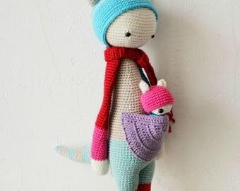 Amigurumi kangaroo doll with her baby