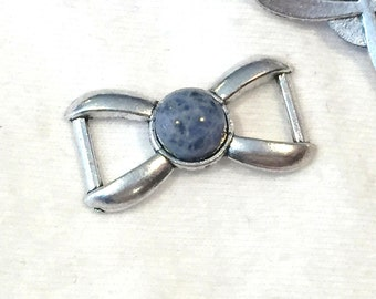 SALE: Lapis Lazuli Gemstone Connector Bar, Antique silver finding, 5mm flat