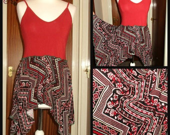 Free size Red strappy hanky hem style top tunic patterned hippie tribal aztec paisley black white pixie faerie pointy floaty