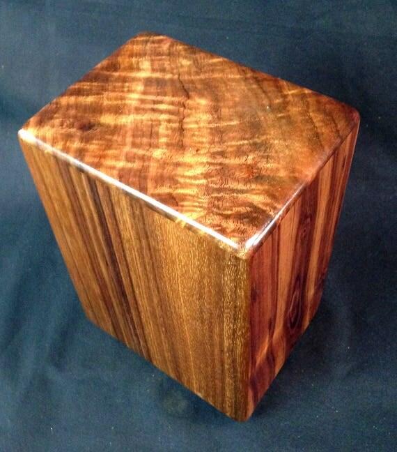 """Large Curly Hawaiian Koa Memorial Cremation Urn... 7""""wide x 5""""deep x 9""""high Wood Adult Cremation Urn Handmade in Hawaii LK090817-A"""