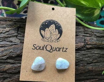 Moonstone natural crystal earring studs / gift for her / bridesmaid gifts / unique earrings