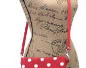 Vintage & Retro Handbags, Purses, Wallets, Bags Cross body Bag  Cross body Pouch  Cross body Clutch Bag  Cross body Purse  Shoulder Bag  Red and White $45.00 AT vintagedancer.com