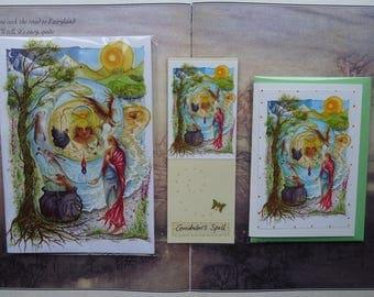 Cerridwen's Spell Notebook, Handmade Bookmark and Card Gift Set