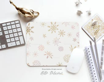 Christmas Mouse Pad Mousepad Snowflake Mouse Mat Winter Mouse Pad Office Mousemat Rectangular Mousemat Snow Mousepad Round 117.