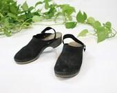 Vintage Swedish Clogs Black / Slider Clogs in Black Suede / Slingback Shoes