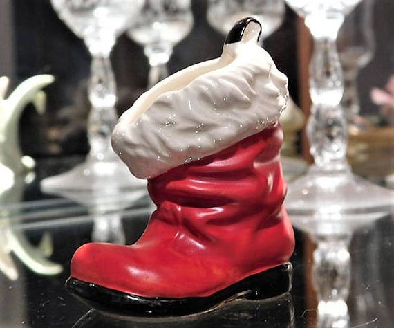 Vintage Goebel W Germany Santa Boot Toothpick Holder Christmas Santa Claus Red Boot Figurine Kitsch Country Farmhouse Cottage Home Decor