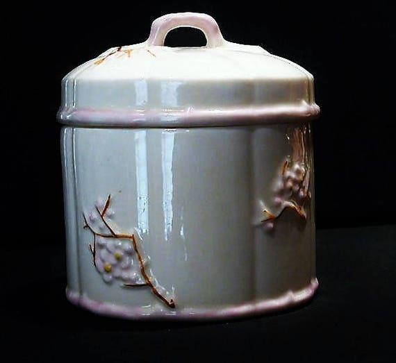Vintage Belleek Lidded Jar Irish Porcelain Dogwood Country Cottage Home Decor Marmalade Honey Jam Condiment Mustard Jar 7th Seventh Mark