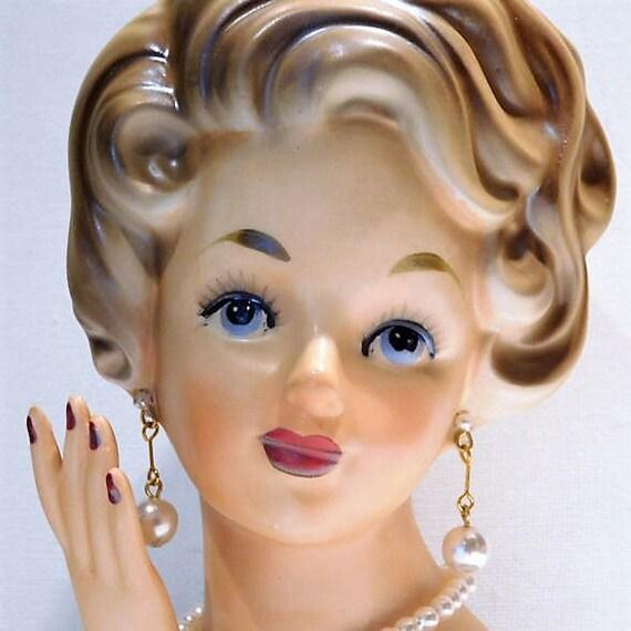 Head Vase / Ardco Lady Head Vase / Vintage Mid Century 1950s Head Vase
