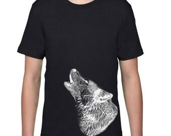 Kids Clothing, Kids Shirt, Howling Wolf Tshirt, Wolf T Shirt, Wildlife, Wild Animal Tee, Youth Childrens Clothes, Ringspun Cotton