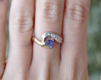 14k Yellow Gold Triangular Tanzanite with Diamonds Engagement Ring Blue