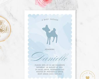 Boy Baby Shower Invitation / Deer Baby Shower Invite / Blue