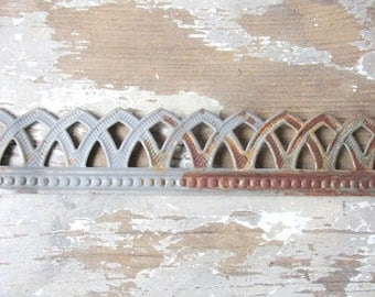 "Metal lace ribbon tin filigree edging decorative trim for projects 3 feet rusty galvanized metal tape Roman arch Wedding  1.25"" wide"